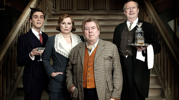 Blandings (left-to-right): Jack Farthing, Jennifer Saunders, Timothy Spall and Mark Williams