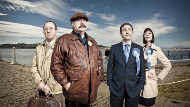 L-R Jonathan Watson, Brian Cox, Rufus Jones and Pollyanna McIntosh (credit: BBC/Euan Myles)