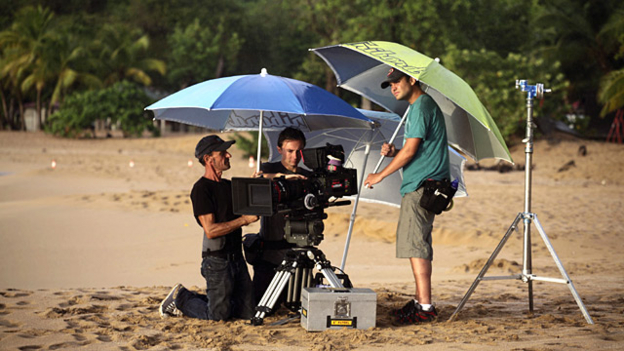 freelancers on a beach under an umbrella