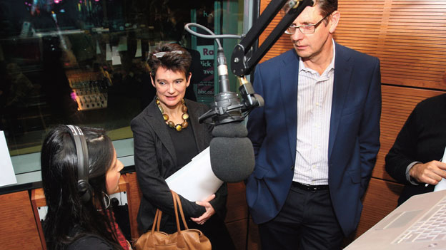 Diane Coyle and David Liddiment visiting the BBC Asian Network studio