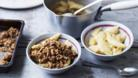 Apple crumble with walnuts and sunflower seeds