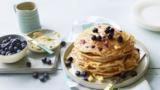 American-style pancakes with blueberries