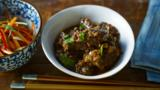 Asian-braised shin of beef with hot and sour shredded salad