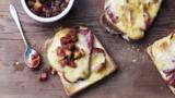 Bacon rarebit with apple chutney