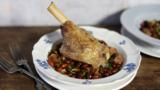 Braised lamb shank with bay and borlotti beans
