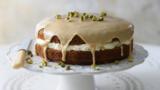 Coffee and cardamom cake with pistachio cream