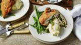 Chicken kiev with mashed potato and green beans