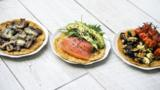 Chickpea flatbreads with tasty toppings