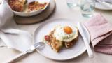 Crisp bacon rosti with fried eggs