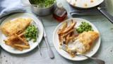 Gluten-free fish and chips with minty peas