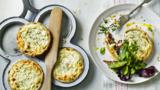 Goats' cheese and shallot tarts