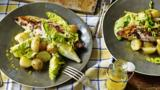 Grilled mackerel with new potatoes and salad
