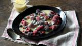 Iced berries with limoncello white chocolate sauce