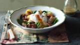 Kipper, spinach, bacon and new potato salad