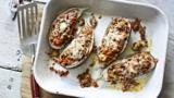 Lamb-stuffed aubergines with Moorish spices and Manchego cheese