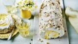 Lemon curd and pistachio meringue roulade