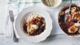 Mozzarella chicken with butter bean mash