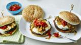 Mushroom and mozzarella burger with relish
