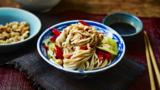 Noodle salad with chilli nuts