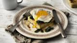 Potato gratin, fried egg and spinach