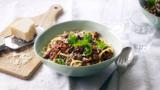 Puy lentil bolognese with pasta