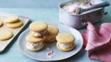Rhubarb and custard ice cream sandwiches