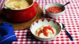 Rice pudding with fresh strawberries
