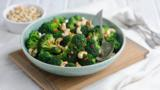 Toasted cashew and chilli broccoli salad with sesame soy dressing