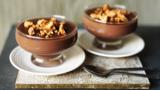 Warm chocolate and amaretto pudding