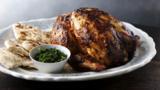 Whole tandoori chicken with coriander chutney