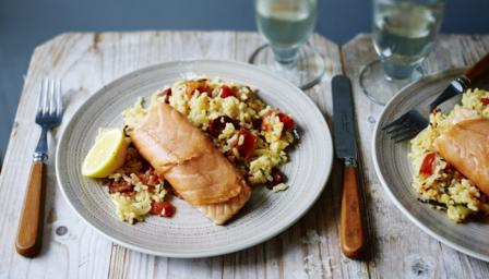 Baked salmon with chorizo rice