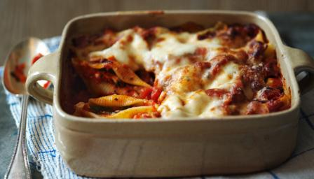 ... shells with a simple tomato sauce, baked until crisp, golden and gooey