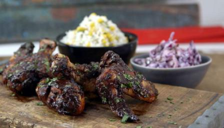 BBQ chicken wings with sweetcorn rice and red cabbage slaw