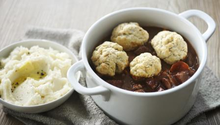 Beef and chorizo with horseradish mash and rosemary dumplings
