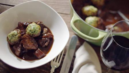 Beef stew with fluffy dumplings