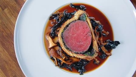 James Martin Beef Wellington with wild mushroom Madeira sauce