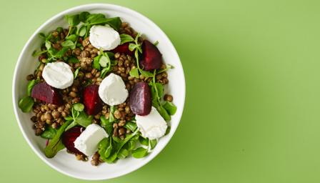 Beetroot, lentil and goats' cheese salad