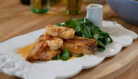Brown trout with crayfish and watercress sauce