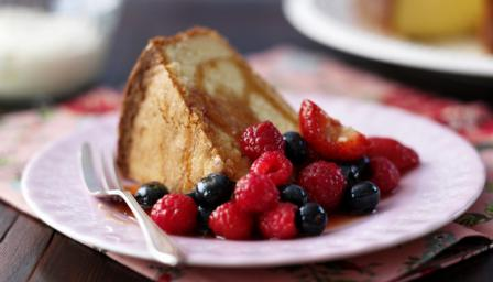 Buttermilk pound cake with Pimms-soaked fruits