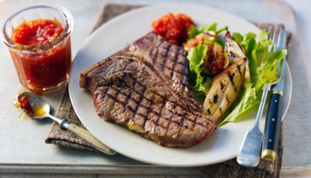 Chargrilled T-bone steak with tomato chilli chutney