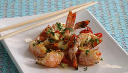 Chargrilled sweet and sour prawns