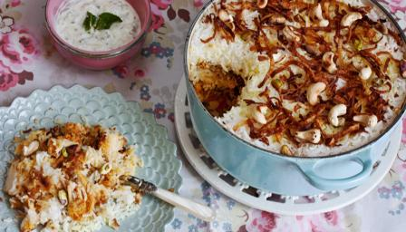Chicken and rosewater biryani