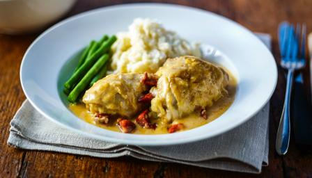 Chicken braised in cider and chorizo