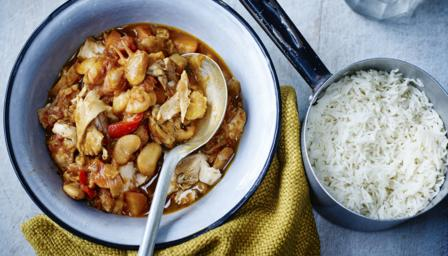 Chicken and butter bean casserole with basmati rice