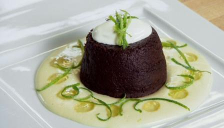 Chocolate fondant puddings with lime syrup and coconut custard