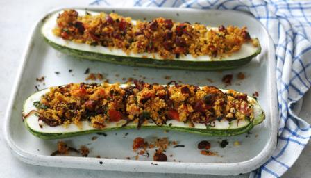 Chorizo and couscous stuffed marrow