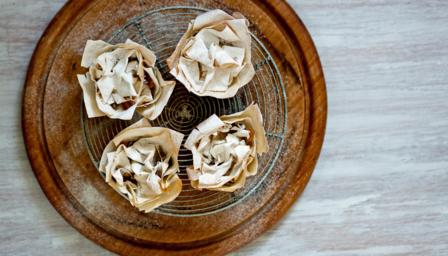 Crispy filo mince pies with pear and apple mincemeat