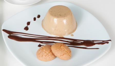 Espresso panna cotta with chocolate sauce