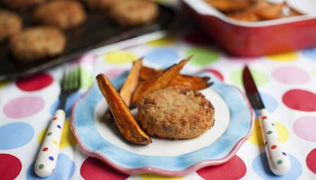 Fish cakes with sweet potato fries