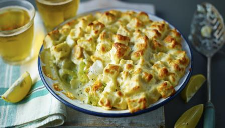 Fish pie with soufflé crouton topping